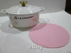 New Le Creuset Cast Iron Limited Edition Sakura Cherry Blossom 2.75qt & Trivet