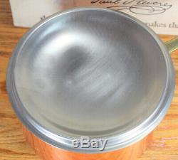 New Vintage Paul Revere Ware USA 1976 Solid Copper Pot 2 QT Sauce Pan NIB NOS
