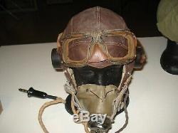 Original WW2 British C type flying helmet G type oxygen mask set