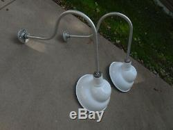PAIR of Vintage Look Barn Light Industrial old yard ANGLED SIGN lights