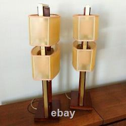 Pair (2) Mid-Century Modern Wood Brass Nova Table Lamps Fiberglass 2-Tier Shades