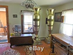 Pair Artist SIGNED bronze tall urns WALDORF ASTORIA NEW YORK CITY