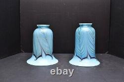 Pair Of ART GLASS Lamp Light SHADES AURENE BLUE IRIDESCENT PULLED FEATHER