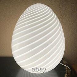 Pair Of Original Vintage MID Century Maestri Murano 17 White Swirl Egg Lamps