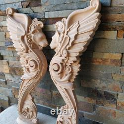 Pair Wood Carved Griffin Gothic Door Stairs Lion Wall French Victorian Fireplace