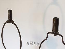 Pair of Vintage Mid Century Deena China Black & 24K Gold Splatter Table Lamps