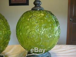 Pair of Vintage, Retro Hollywood Regency Table Lamps 3-way, green
