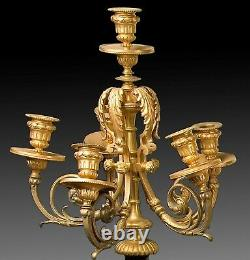 Pair of candelabra. Belgian bronze and marble. 19th century
