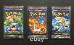 Pokemon English 1st Edition Base Set Shadowless Complete Artset 3 packs
