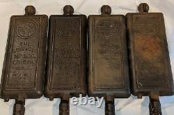 RARE! 4 pcs Griswold ERIE PA Cast Iron Hotel Waffle Iron For #12 #2608, #2609