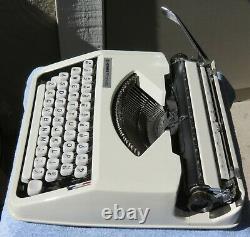 RARE Cursive Hermes Rocket Baby Typewriter with Case, Manual &Type Cleaner WORKS