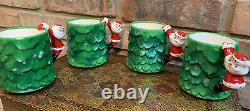 RARE Lot of 4 Vintage MCM Holt Howard Christmas Tree Santa Mugs in Original BOX
