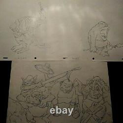 Ralph Bakshi Wizards Monster Warriors Production Cels With Key Copy Bg, Drawings