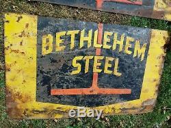 Rare Original Steel Works Bethlehem Steel Sign 5 ft x 4 ft
