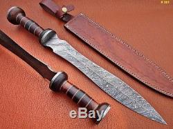 Roman Gladius 24 Sword Handmade Damascus Handle Rose & Pakka Wood S-16736