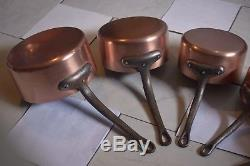 Saucer Pan Set (5) Vintage Made in France Copper Cast Iron Handles Tin Lining
