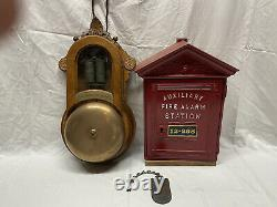 Set BOSTON Gamewell Moses Crane Auxiliary Fire Alarm BOX, GONG & KEY TAG