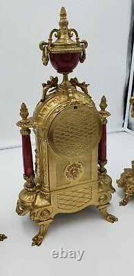 Signed Lancini Gilt Brass Mantel Clock And Urns Set With Handpainted Porcelain