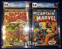 Thanos 1st Appearance Cgc Lot Iron Man 55 + Captain Marvel 25-34 (all Cgc 9.4)