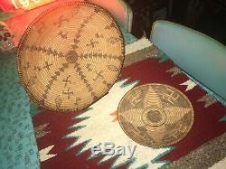 Two (2), beautiful, antique, Apache Tight-weave baskets whirling logs! Cool