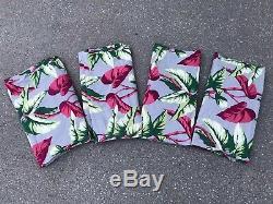 Vintage Barkcloth Curtain Panels Matching Set of 4 Tropical Floral Print Drapes