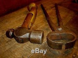 Vintage Blacksmith Hammer & Heller Tong Tool Lot Anvil Forging Tools
