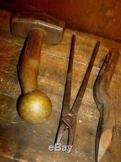 Vintage Blacksmith Hammer, Tongs & Chisel Anvil Forging Tools