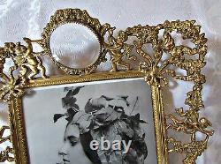 Vintage Brass Ormolu Vanity Set- Tray, Picture Frame, Perfume, Jewelry Box, Puff