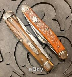 Vintage CASE XX 5254 Stag Trapper and Keen Kutter 784 Stockman Folding Knives