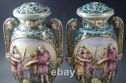 Vintage Capodimonte Italy Figural Cherubs Demons Mythical Lamps Pair