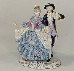 Vintage Dresden German Irish Porcelain Lace Figurines of Chess Music Lot of 5