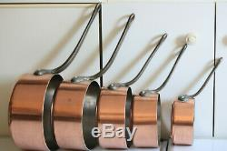 Vintage French Copper Saucepan Pan Set (5) Home Cookware Set Stamped 9.9lb