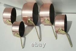 Vintage French Copper Saucepan Set 5 Stamped Tin Lined Bronze Handles 1-2mm 11lb