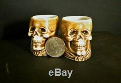 Vintage Halloween Grim Reaper POISON Decanter & 2 cups 1910s Bavarian Porcelain