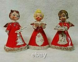 Vintage Kreiss Christmas Caroling 3 Porcelain Angel Bell Figurine Set 1950's