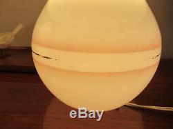 Vintage Large Pair Murano Glass Pink stripe Gold Band Mushroom Table Lamp 14