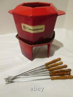Vintage Le Creuset Cousances Enameled Cast Iron Red Fondue Pot LID Stand Forks