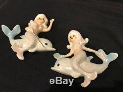 Vintage Lefton Mermaid Riding Dolphin Ceramic Wall Plaque Bathroom Decor Retro