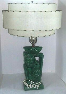 Vintage Mid Century/Retro Green Pottery Table Lamp Cream/Tan 3 Tier Shade