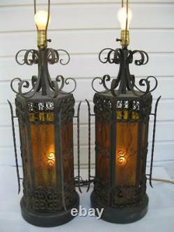 Vintage Pair Wrought Iron Spanish Medieval Gothic Amber Lamps Pick Up N Michigan