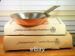 Vintage Paul Revere Ware USA Solid Copper Pot 8 & 10 Skillet Set Pan NIB NOS