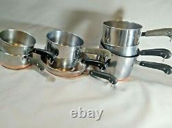 Vintage Revere Ware 8 Piece LOT SET Sauce Pans Skillet PRE 1968 NO LIDS NICE