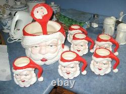 Vintage Santa Claus Punch Bowl Set 6 Head Mugs Cups Ladle Ceramic Set christmas