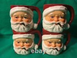 Vintage Set of 4 Lefton's Santa Claus Face/Pipe Christmas Ceramic Mug Cup