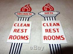 Vintage Standard Gasoline Torch Men & Women Die-cut Restroom 12 Metal Oil Sign