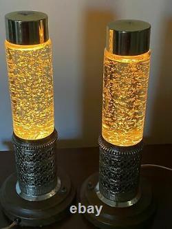 Vtg Heat Tapes Stardust Lites Gold Glitter Lava Lamps 1960s Set Of 2