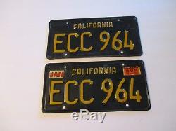 Vtg Pair 1963 Car Automobile LICENSE PLATE Set California Black Yellow ECC 964