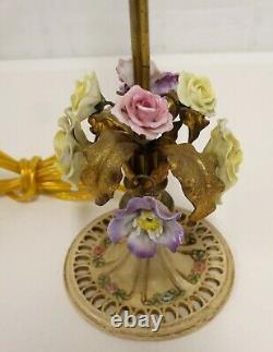 Vtg Pair FRENCH BOUDOIR LAMPS Porcelain Flowers Gilt Leaves Metal Ptd Roses Base