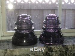 WHITALL TATUM CO Nº1 & 15 Glass Insulators-Lavender Purple Insulators-Antique