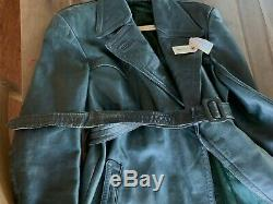 WWII German Officers Leather Trench Coat (estimated 42-46R)& Leather Boots (10)